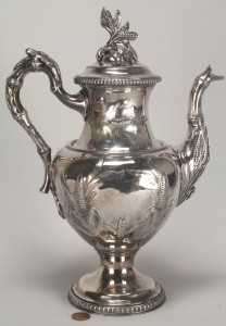 Lot 382: Silverplated coffeepot, corn stalk design