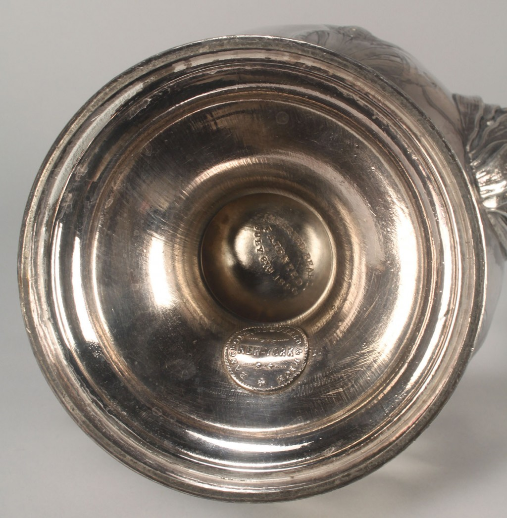 Lot 382: Silverplated coffeepot, corn stalk design