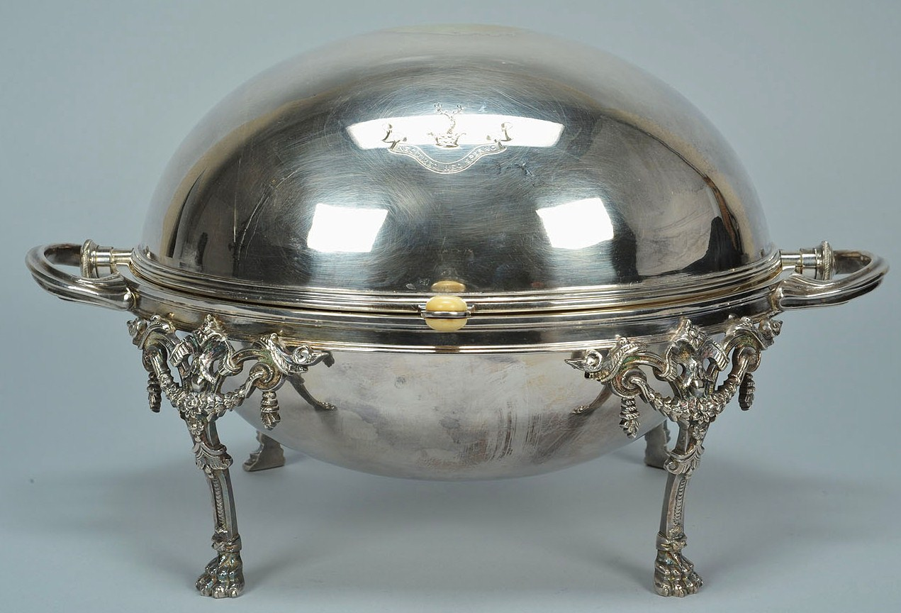 lot 383  victorian silverplated revolving breakfast dish