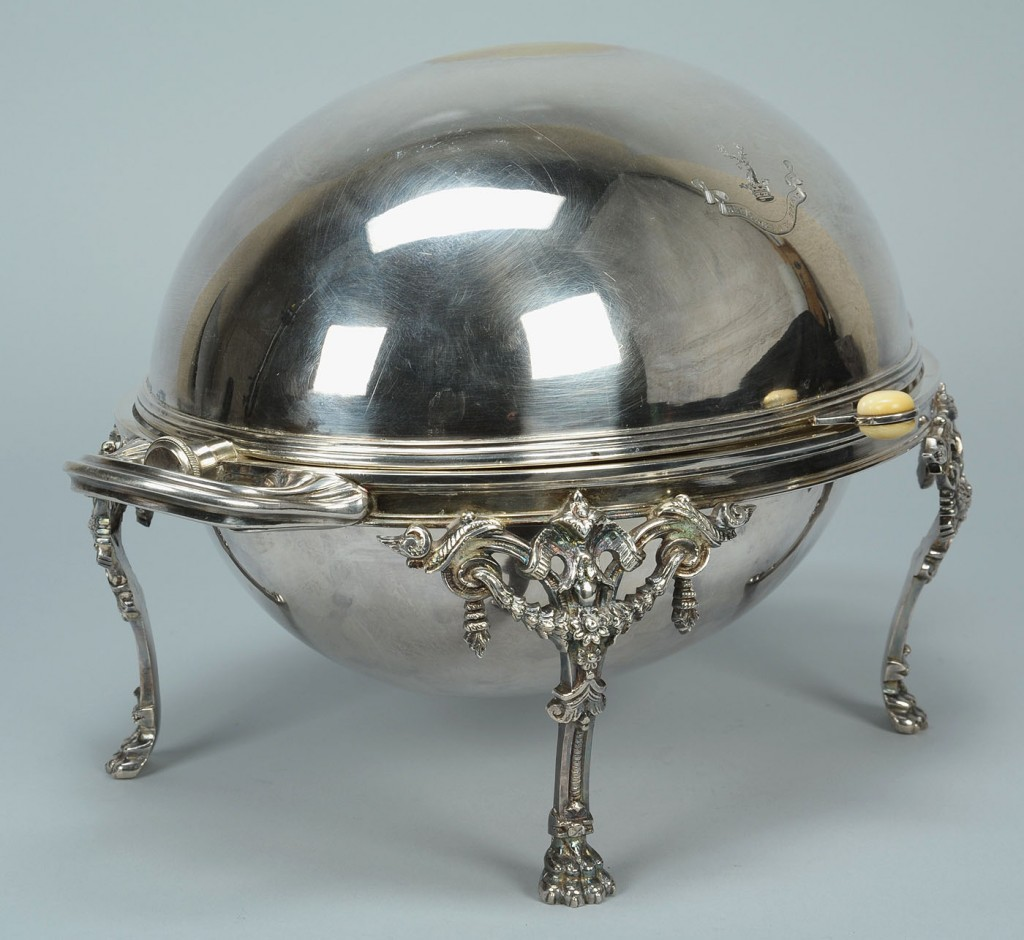 Lot 383: Victorian silverplated revolving breakfast dish