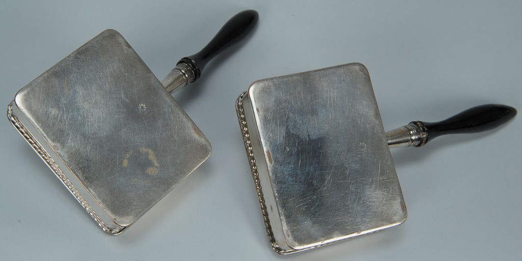 Lot 386: Pair of Old Sheffield crested cheese dishes