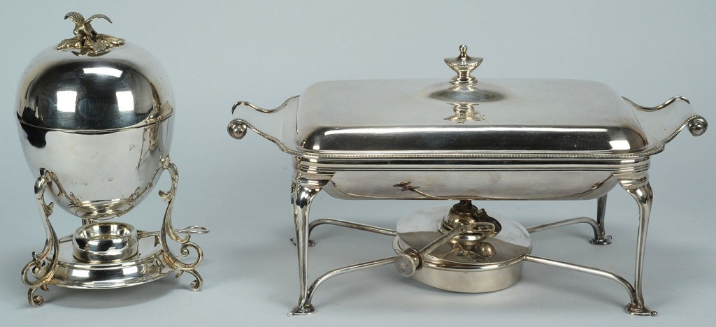 Lot 387: English silverplated chafing dish & egg coddler