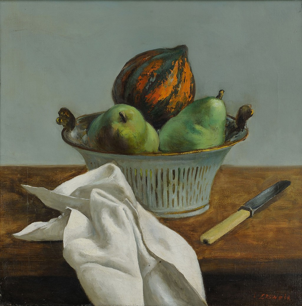 Lot 38: L. Crowell, Still life with Squash & Pears