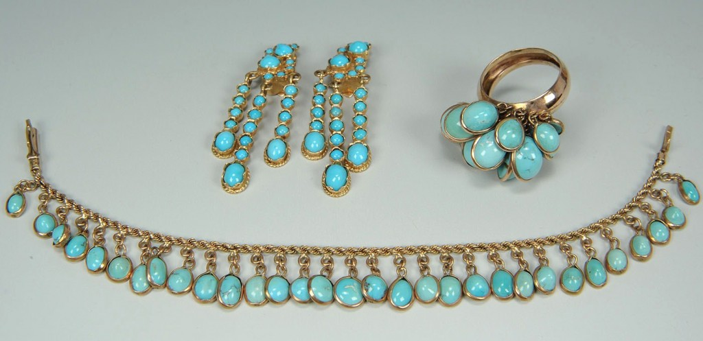 Lot 390: Group Of 14K gold and turquoise Jewelry