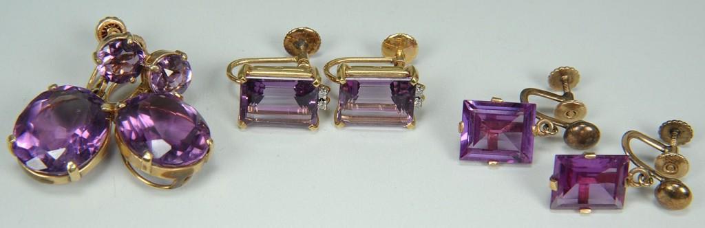 Lot 394: 3 Pairs 14K & 18K Amethyst Earrings