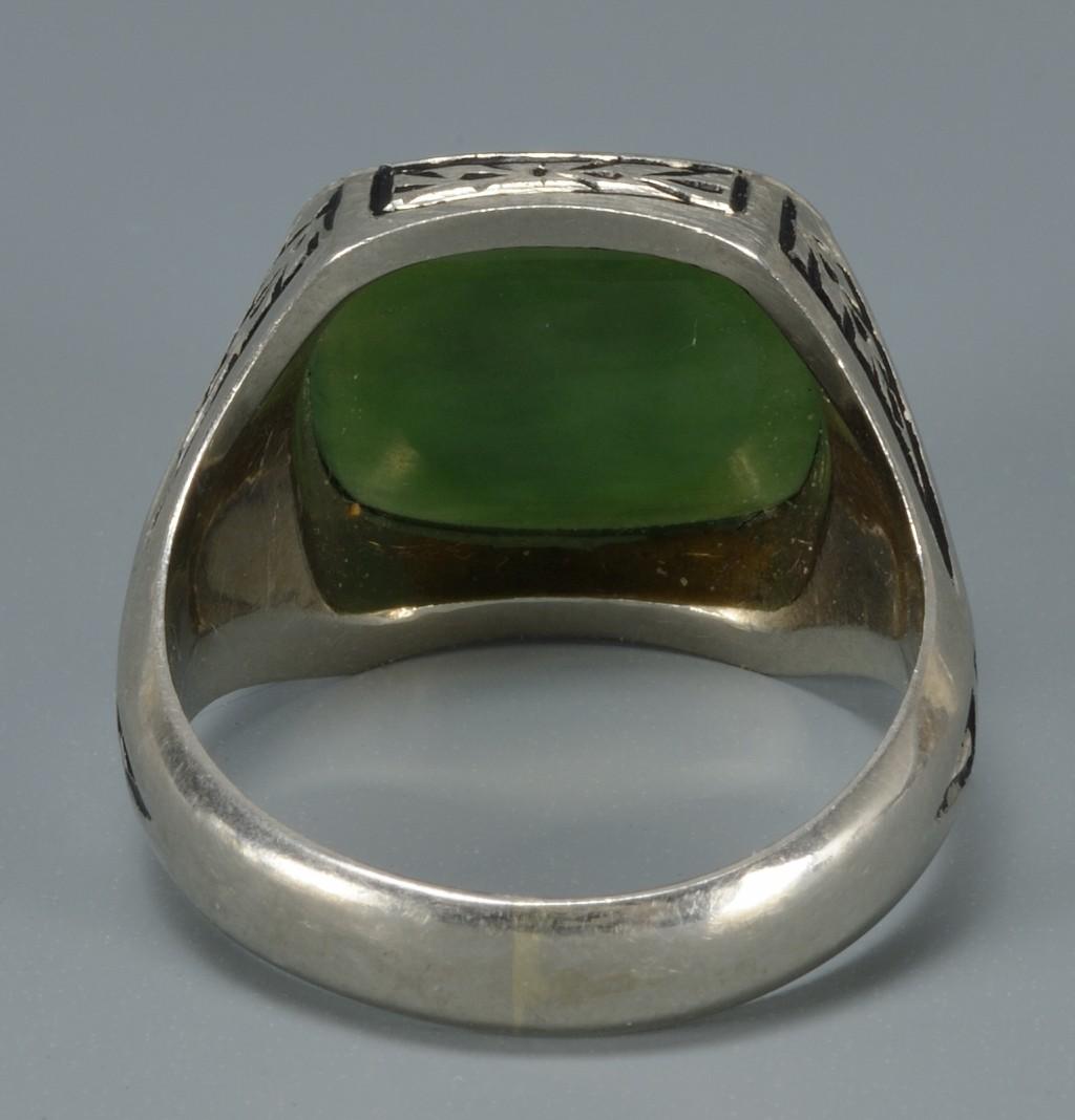 Lot 396: Art Deco style white gold ring w/ intaglio cut sto