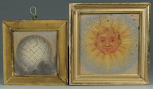 Lot 401: Masonic sun and moon paintings