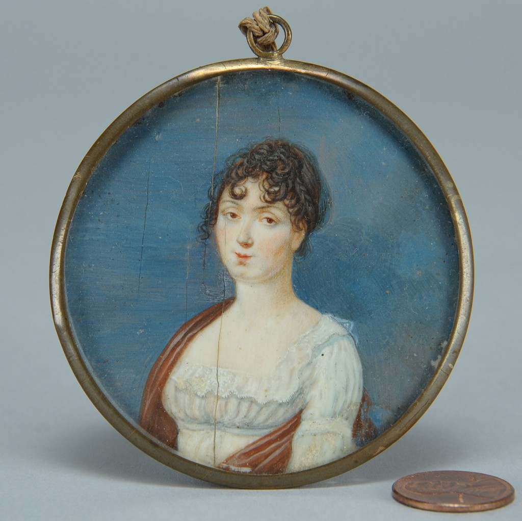 Lot 403: Two miniature portraits of ladies, early 19th c.
