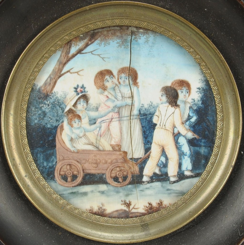 Lot 404: Miniature painting, children in wagon