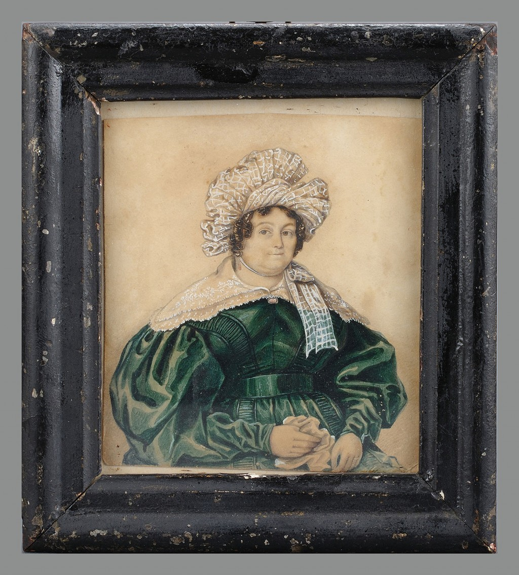 Lot 406: Small watercolor of a portly woman