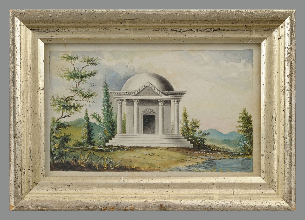 Lot 407: Watercolor of a Monument  and Fruit Theorem