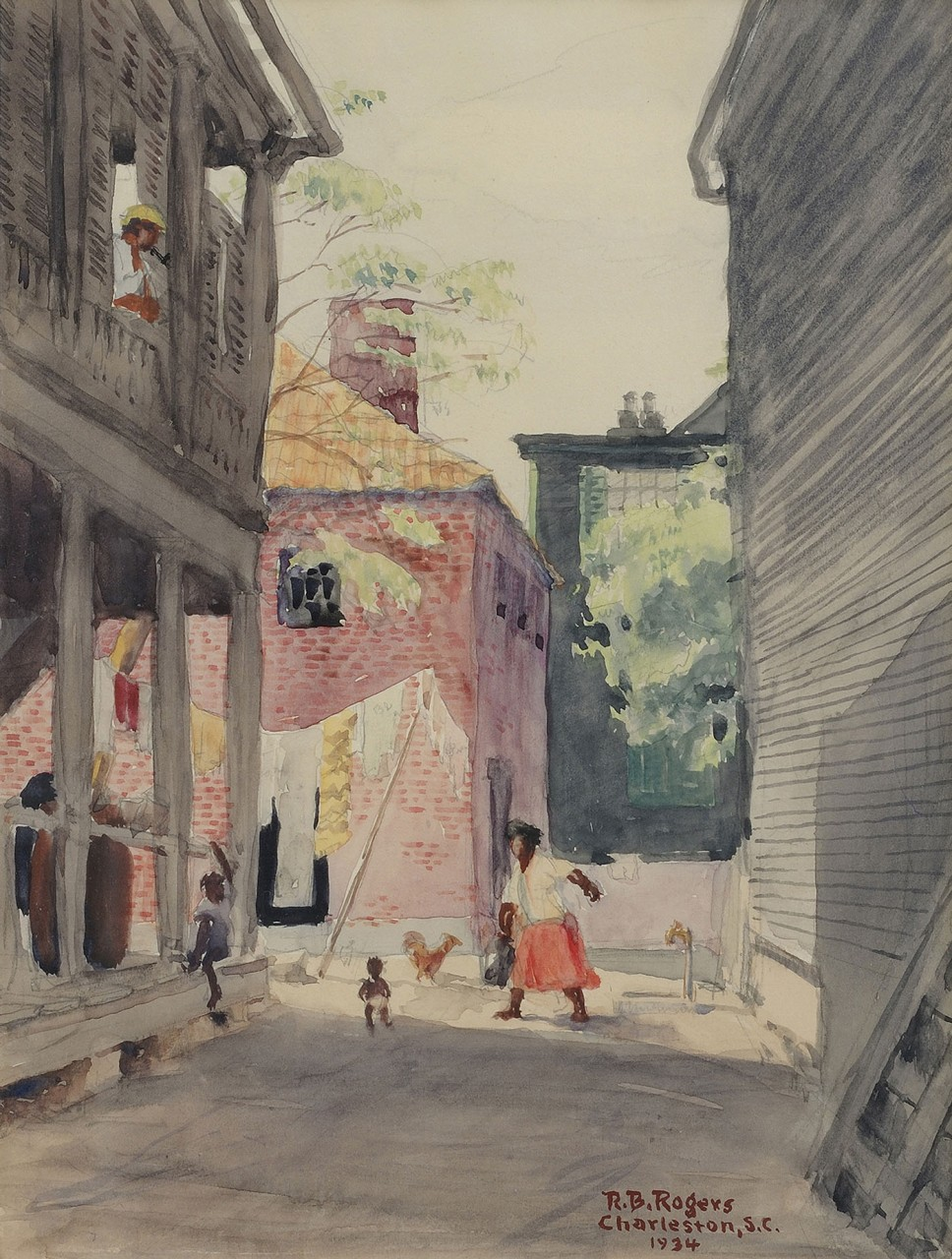 Lot 410: R.B. Rogers Watercolor, Charleston Scene