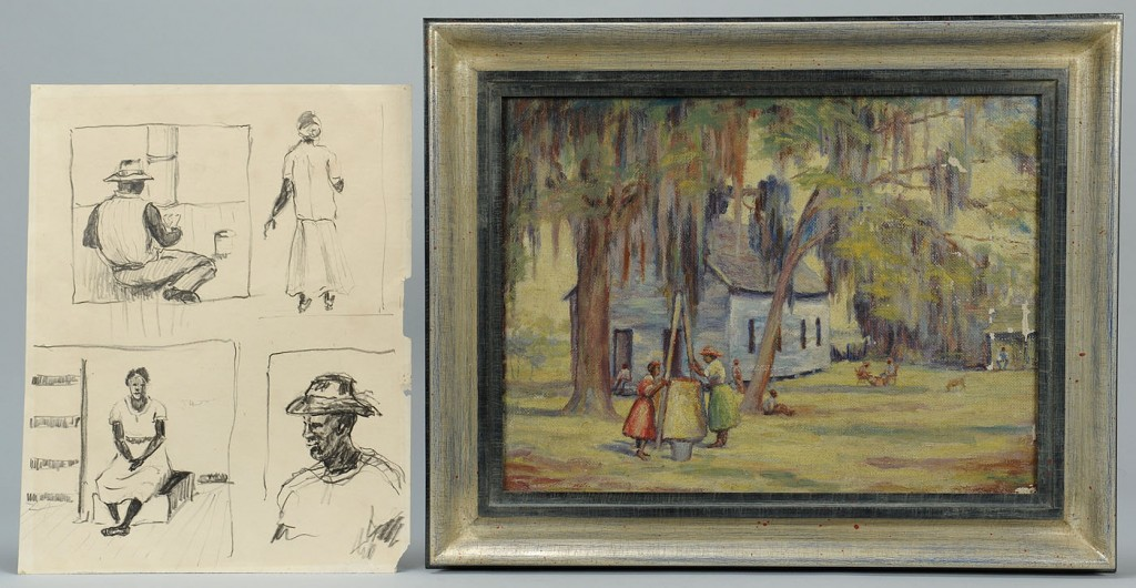 Lot 412: Southern School oil on canvas and drawing, African