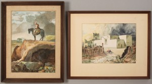 Lot 417: 2 Horst Schreck Southwestern Paintings