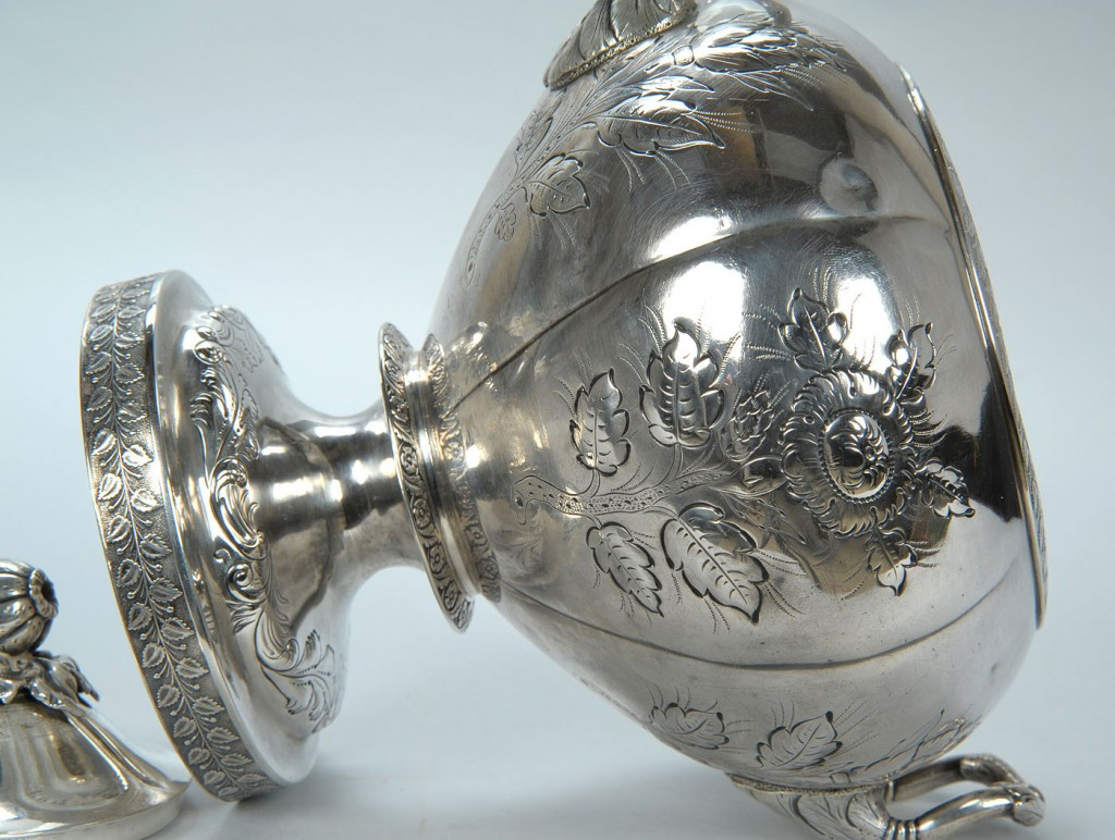 Lot 41: Baldwin Gardiner coin silver sugar urn