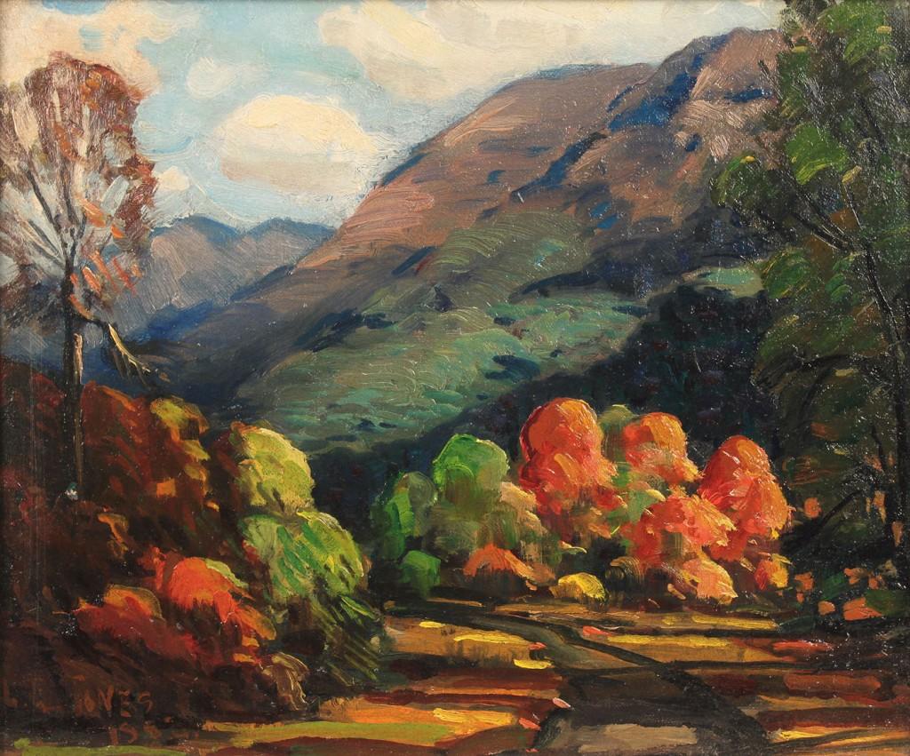 Lot 422: Mountain landscape oil on board by Louis E. Jones