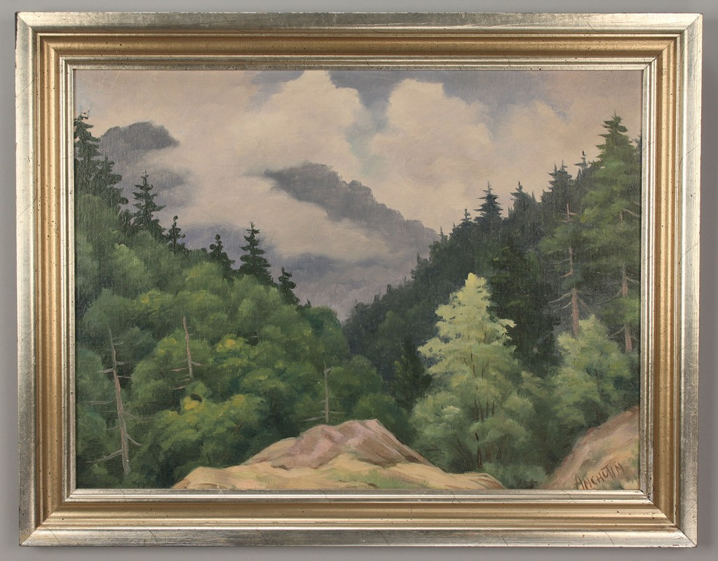 Lot 423: 2 Oil on Board Smoky Mountain Scenes, Anchutin