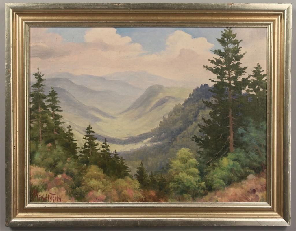 Lot 423: 2 Oil on Board Smoky Mountain Scenes, Anchutin