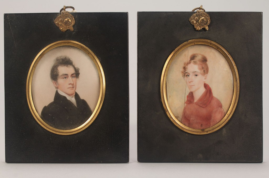 Lot 429: Two miniature on ivory portraits of William Miller