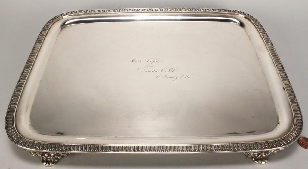 Lot 42: NY Coin Silver Tray, insc. Moses Taylor