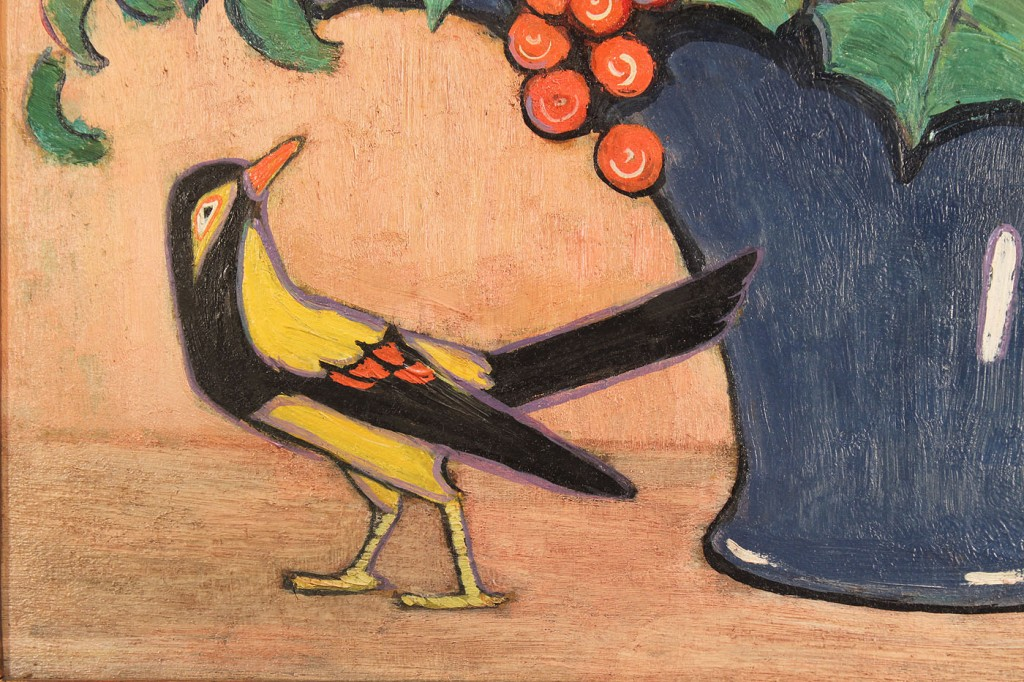 "Lot 430: Eleanor Abrams oil on board ""Birds and Flowers"""