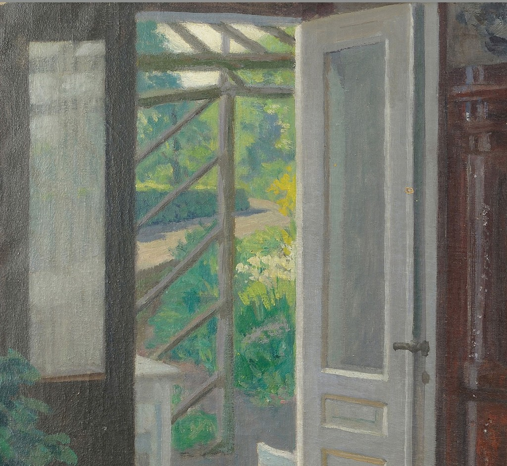 Lot 431: Hans Hilsoe oil on canvas, Interior Scene