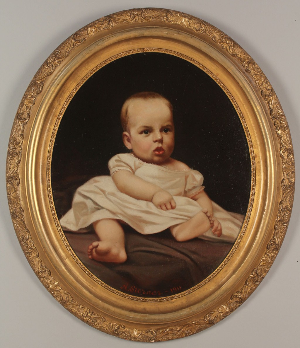 Lot 434: Albert Sterner oil on canvas, portrait of a child