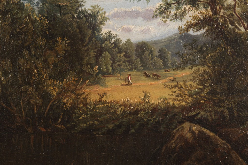Lot 436: American Oil on Canvas Landscape with cows