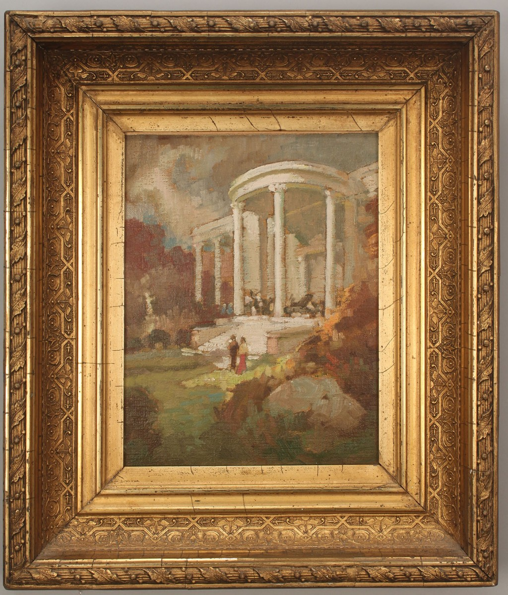Lot 437: Framed impressionist painting of a house