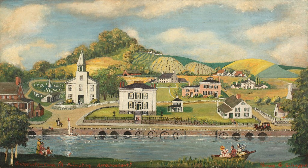 Lot 438: Large H. Schoppe folk art Connecticut landscape
