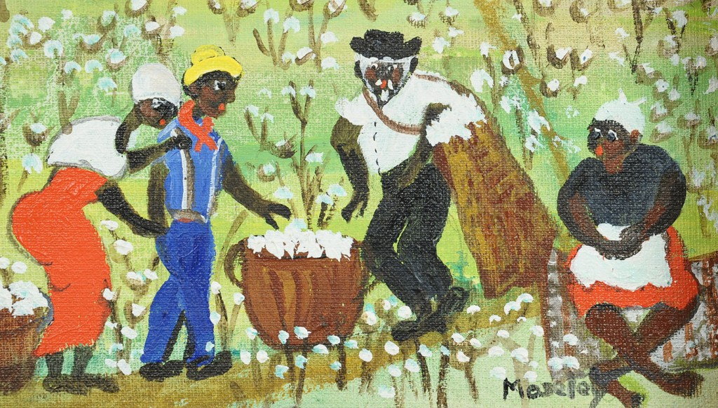 Lot 442: Alice Latimer Moseley painting, cotton pickers