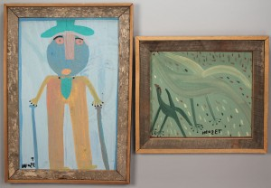 Lot 443: 2 Mose Tolliver Paintings, outsider art