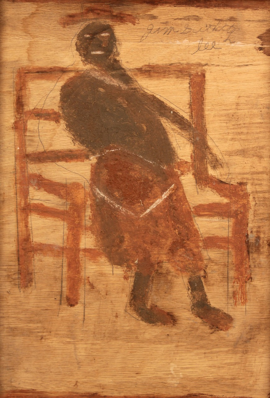 Lot 444: Jimmy Lee Sudduth painting, Woman in a Chair