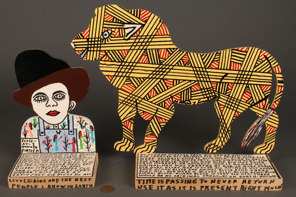 Lot 446: 2 Howard Finster Painted Bookends