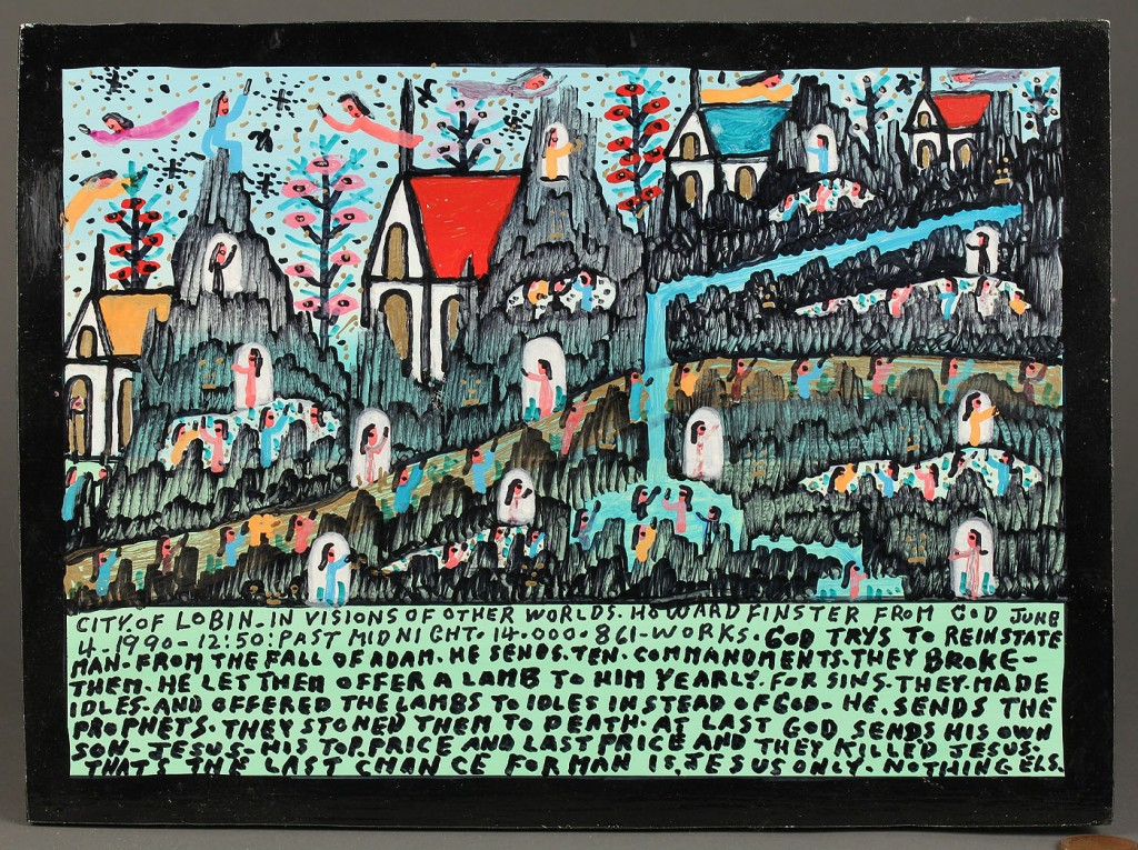 Lot 447: 2 Howard Finster works, plaque and carved angel fi