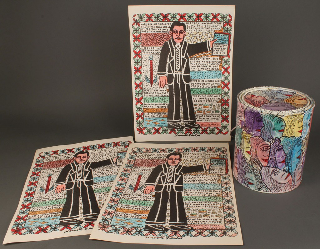 Lot 450: 4 Howard Finster Items: paint can and wood blocks