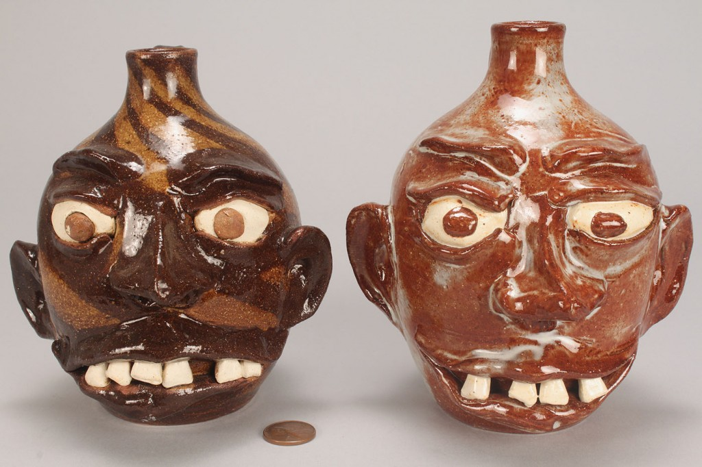 Lot 455: 2 NC G. F. Cole Pottery Face Jugs