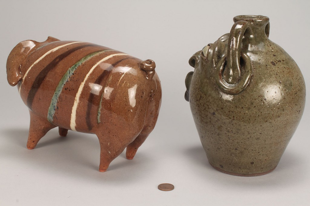 Lot 456: 2 NC Pottery Items by Joe Reinhardt, Pig & Face Ju