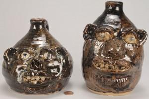 Lot 457: 2 Georgia Folk Face Pottery Jugs, Marie Rogers