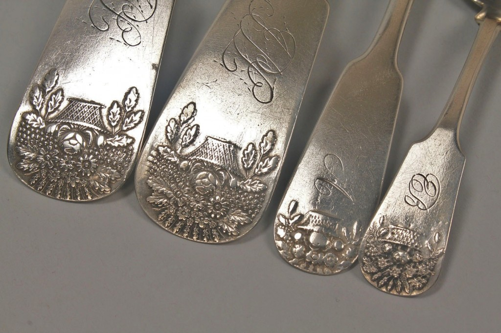 Lot 45: 4 Ga. Coin Silver spoons, Basket of Flowers patter