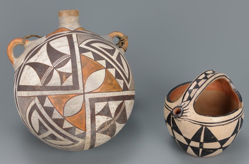 Lot 463: Southwest Polychrome Pottery Canteen & Jar