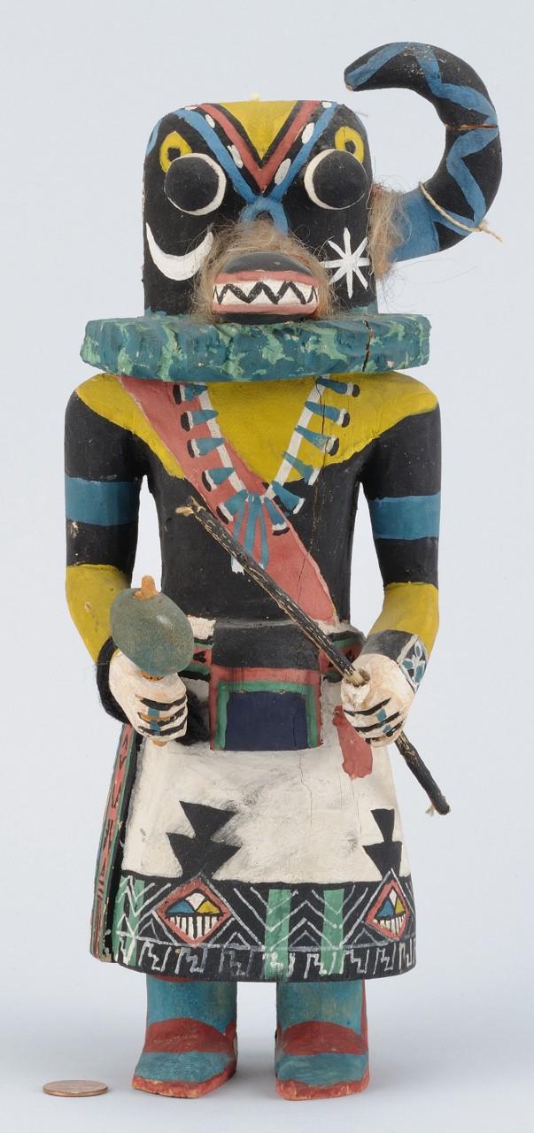 Lot 466: Hopi Painted & Carved Kachina Doll, signed James K