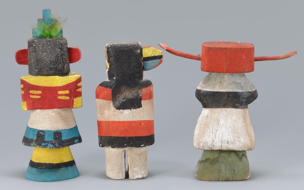 Lot 468: 3 Miniature Carved & Painted Kachina Dolls