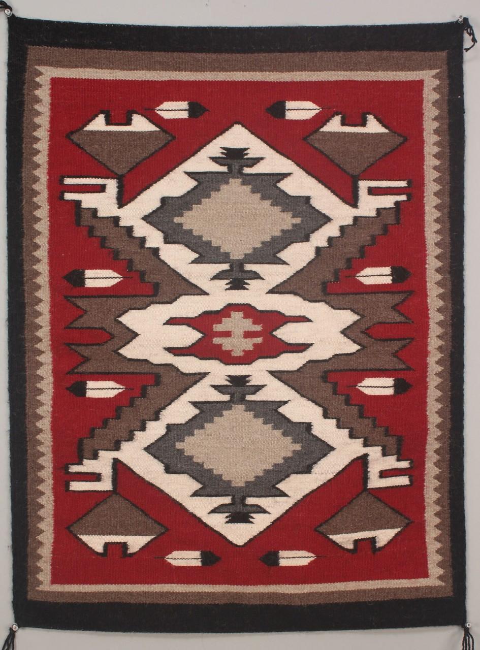 Lot 471 Navajo Weaving Rug Diamond Feather Design