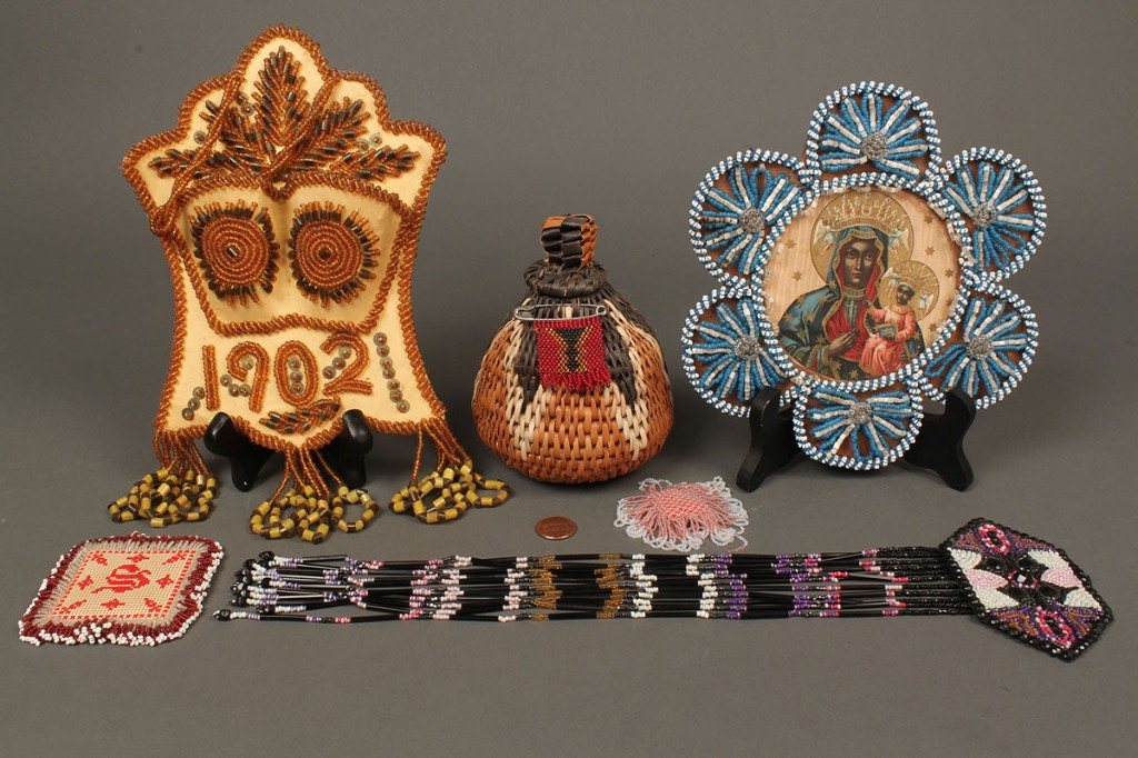 Lot 475: Lot of 6 Native American beaded whimsies c.1900