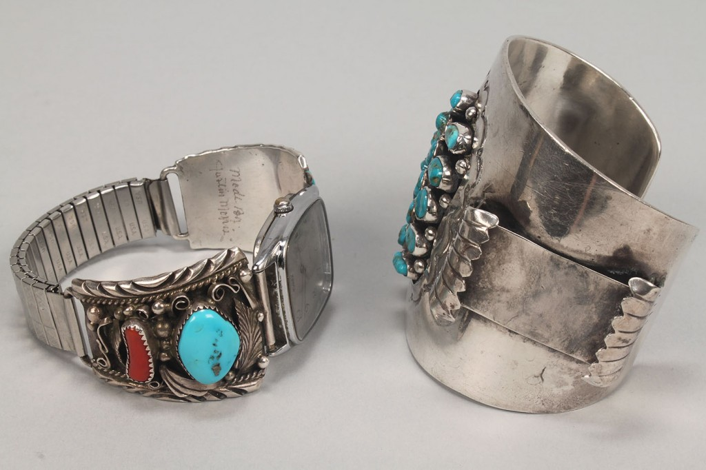 Lot 477: 2 Southwestern Silver & Turquoise Jewelry Items