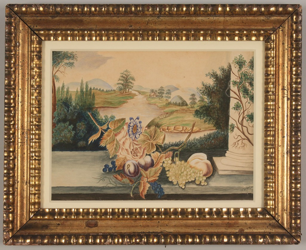 Lot 478: 19th C. Watercolor theorem with grapes and plums