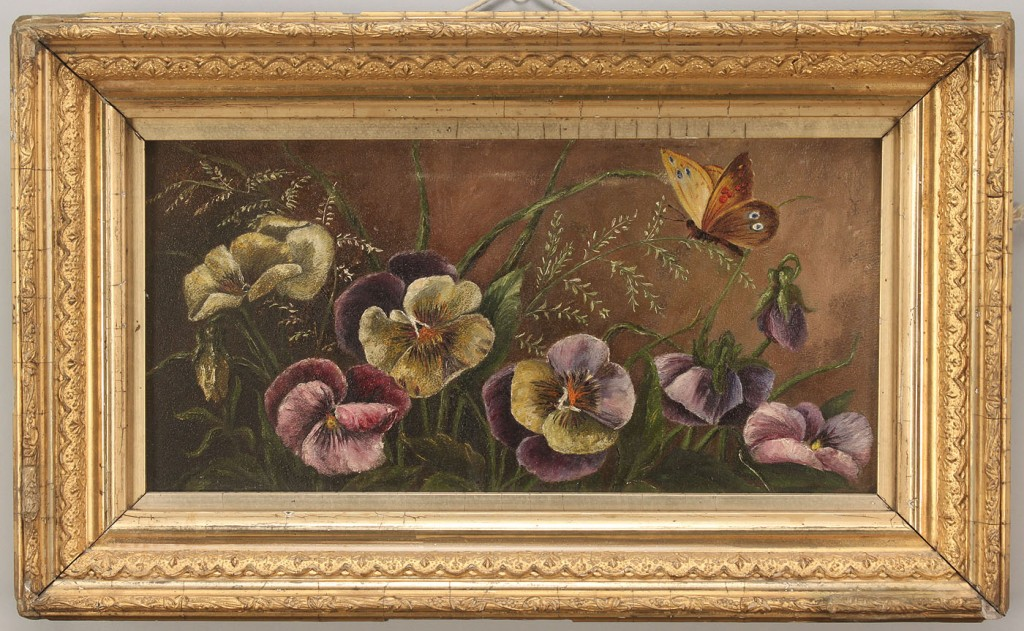 Lot 479: Pansies & Butterflies oil and Silhouette interior