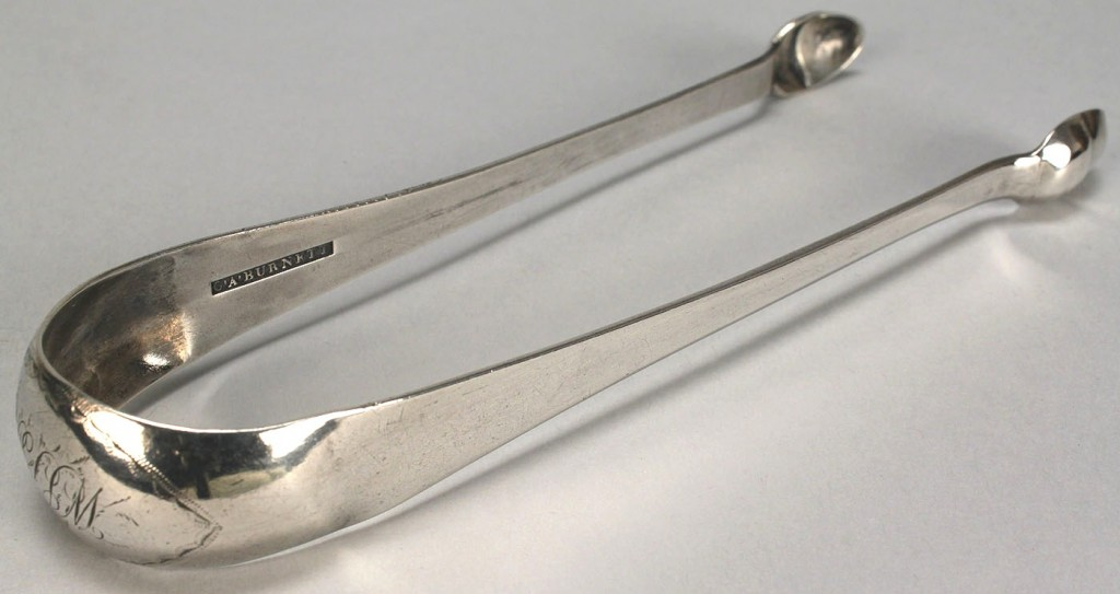 Lot 47: Coin silver tongs by C.A. Burnett of Alexandria, V