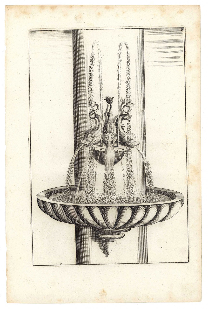 Lot 480: 7 G. A. Bloecker architectural fountain engravings